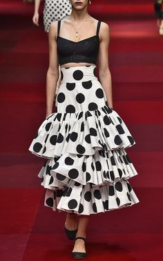 High Waisted Poplin Tiered Skirt in Polka Dot Print by Dolce & Gabbana Now Available on Moda Operandi