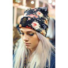 Hardy Punglia Design Handmade Floral Print Velvet Beanie ($46) ❤ liked on Polyvore featuring accessories, hats, models, multicolour, velvet hat, black beanie, black velvet hat, colorful hats and print hats