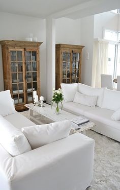Coastal decor, beach art and furniture. You can improve the natural beauty in your home with splashes of white, as well as beach house decorating ideas. Home Living Room, Home, House Styles, House Interior, Coastal Living Rooms, White Interior, Home Decor Store, White Rooms, Home And Living