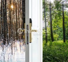 Stock Photo : open door and a winter forest Conservatory, Pop Up, Door Handles, Outdoor Structures, Doors, Stock Photos, Winter, Plants, Image