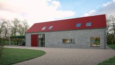 Red Barn House - Red corrugated tin replacement dwelling on a restricted site Country Farmhouse Exterior, Country Barns, Cottage Exterior, Barn Style House Plans, Modern Barn House, House Designs Ireland, Abandoned Houses, Abandoned Castles, Abandoned Mansions