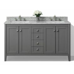 Ancerre Designs Shelton Sapphire Gray 60-in Undermount Double Sink Birch Bathroom Vanity with Natural Marble Top