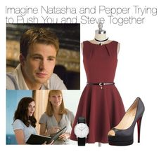 Imagine Natasha and Pepper Trying to Push You and Steve Together by fandomimagineshere on Polyvore featuring polyvore fashion style Closet Christian Louboutin Junghans Chicnova Fashion women's clothing women's fashion women female woman misses juniors