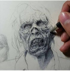 so art in 2019 Zombie Drawings, Scary Drawings, My Drawings, Awesome Drawings, Awesome Art, Zombie Face, Toned Paper, Diy Canvas Art, Beautiful Drawings