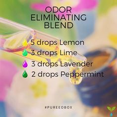 Odor Eliminating Essential Oil Diffuser Blend! #pureeobox #essentialoils #diffuser #diffuserblend . . Odor Eliminating Blend - 5 drops Lemon Essential Oil - 3 drops Lime Essential Oil - 3 drops Lavender Essential Oil - 2 drop Peppermint Essential Oil . . Stay Pure! #Regram via @the.pure.lifestyle