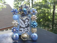 Blue Victorian Rhinestone Vintage Jeweled Glass by MyInnerPrincess, $59.95