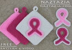 DIY Free Pattern Crochet Awareness Pink Ribbon Potholder Potholders for Breast Cancer and Other Causes with YouTube Tutorial Video by Naztazia