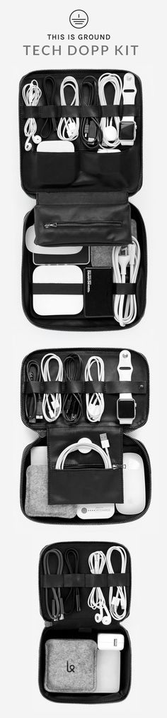 The leather Tech Dopp Kit from This Is Ground is the ultimate zip-up travel organizer for your tech accessories. With room on both sides to strap down your cords, adapters, headphones, and other necessities, the Tech Dopp Kit uses space wisely for prime portability.