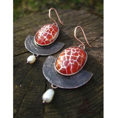 Fire jasper earrings fire agate copper by MineralsAndCopper
