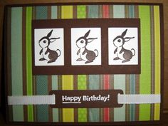 Easter card. But replace 2 of the rabbits with the other forest friends set.