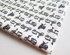 Vespa Fabric, Car, Motorcycle, Vintage Scooter, Vehicle, Boy Shirt, Baby shower, boy, kid, toy, pillow cover, curtain, handmade bag, CT528