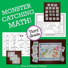 """Kids everywhere are having fun running around outside and catching Pokmon. Why not use math to catch some monsters in the classroom? With Monster Catching Math, your students can use their math skills to catch a variety of different, silly monsters, each with its own personality.Students will """"catch"""" the monsters by solving the problems in each scene, and pasting the monster that has the corresponding answer to each problem in the correct spot."""