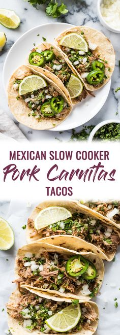 Seasoned with oregano, cumin, chili powder, lime juice, these Mexican Slow Cooker Pork Carnitas Tacos are the perfect dinner for any night of the week. (gluten free, dairy free, paleo, healthy, clean eating) | pork tacos | carnitas recipe | authentic mexican recipe | slow cooker carnitas | crock pot | pulled pork tacos | street tacos via @isabeleats