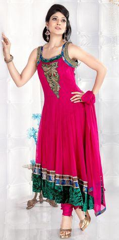 Pink Sleeveless Faux Georgette,Velvet Designer Salwar Kameez 14016
