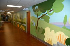 Here is an extensive mural examples ranging from residential wall murals and commercial wall murals painted by Georgia mural artist Laura Gross. Sunday School Rooms, Sunday School Classroom, Art Classroom, Kids Church Rooms, Church Nursery, Murals For Kids, Childrens Wall Murals, Kids Wall Murals, Mural Art