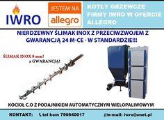 🔵 Kocioł centralnego ogrzewania z podajnikiem automatycznym wielopaliwowym. Kocioł posiada dodatkowe palenisko z rusztem wodnym.  🔵 NIERDZEWNY ŚLIMAK INOX z przeciwzwojem z gwarancją 24 m-ce - W STANDARDZIE!!!  🔵 Moc kotła: 25KW  🔵 CENA: 5 500,00 zł  🔷 KONTAKT:  📞tel kom 796640017 📨e-mail: iwro@onet.pl  ▶Zapraszamy również na nasze aukcje allegro: http://allegro.pl/listing/user/listing.php?us_id=17206055  #kocioł #kotły #piece #dom #centralne #ogrzewanie #opał #INOX #miał #pellet