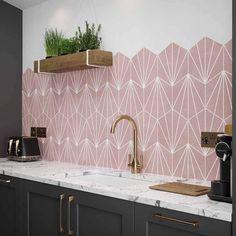 Pink Kitchen Walls, Dark Grey Kitchen, Kitchen Wall Tiles, Room Tiles, Barn Kitchen, Home Decor Kitchen, Kitchen Ideas, Kitchen Design, Contemporary Kitchen Tiles