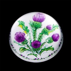 Scottish Thistle Design Crystal | Thistle Crystal Paperweight 9257