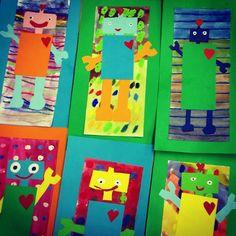 Valmistavan luokan oppilaiden isänpäiväkortteja, joiden tekemisen ohessa harjoiteltiin ruumiinosien suomenkielisiä nimityksiä. Kuva ja vinkki: Suvi Haverinen