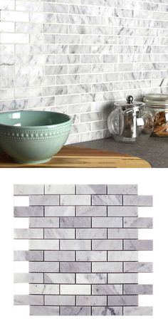 A luxurious polished Carrara Marble Brick Shape mosaic on a mesh netting in a brick bond design, suitable for walls. The Individual tile size is They're suitable for both walls and floors. There are sheets per square meter and 48 tiles per sheet. Brick Tiles Kitchen, Kitchen Grey, Kitchen Walls, Grey Kitchens, Kitchen Backsplash, Marble Mosaic, Carrara Marble, Mosaic Tiles, Brick Bonds