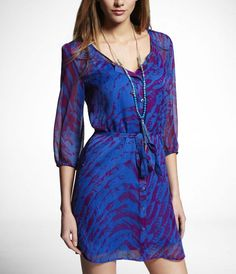 Blue and Purple Feather Waves Shirt Dress - $41.93