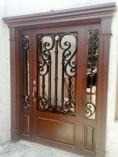 Grill Door Design, House Gate Design, Front Door Design, Iron Front Door, Glass Front Door, Glass Door, Traditional Front Doors, Wrought Iron Doors, Timber Door
