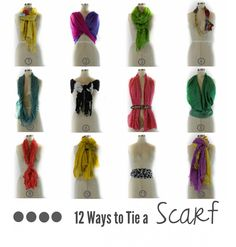 12 Ways to Tie a Scarf graphic! #scarves #scarf  http://www.scarves.net/blog/12-ways-to-tie-a-scarf