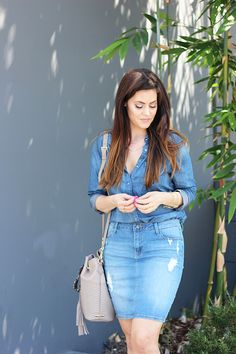 How to Style Denim on Denim: Denim Skirt and Button Down Shirt