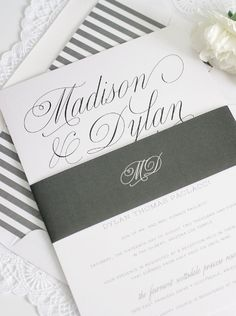 Charcoal Gray Wedding Invitations with gorgeous script