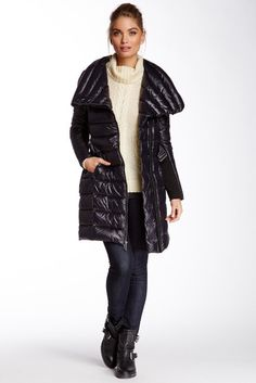 BCBGMAXAZRIA Asymmetrical Collar Packable Puffer Jacket on shopstyle.com