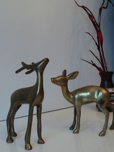 Vintage brass deer couple by Veryodd on Etsy