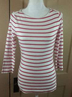 Vineyard Vines Size Small Womens Pink Striped 3/4 Sleeve Pima Cotton Shirt Top #VineyardVines #KnitTop #Casual