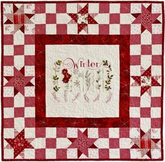 Winter * Crab Apple Hill Studio * Hand Embroidery DIY Inspiration  * Vintage Style Winter themed pillow   * Embroidery Project, Quilt Block or Paper Piecing