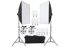 Ultimate Photo Studio Lighting Kit (2 stands, 2 5-in-1 light holders, 2 soft boxes, 10 bulbs & carrying case)