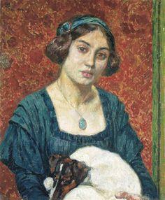 Théo van Rysselberghe - ELISABETH VAN RYSSELBERGHE MET FOX-TERRIER; Creation Date: 1910; Medium: Canvas