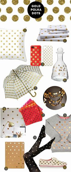 Color story: gold polka dots spots.... Love love love the umbrella!