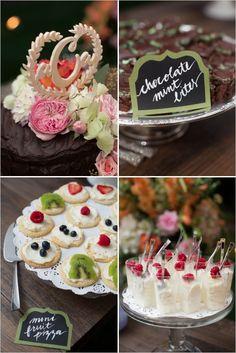 calligraphy dessert labels | colorful wedding treats | garden wedding | #weddingchicks