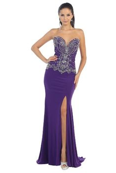 e9eada5680c5 Prom Long Strapless Deep V Neck Beading Jewel Shine High Slit Fitted Formal  Gown. Tendance robes de soirée