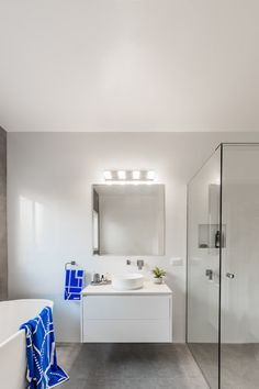 White floating vanity in a grey and white bathroom renovations by Northern Rivers Bathroom Renovations. Master Bedroom Bathroom, White Bathroom, Floating Vanity, Bathroom Images, Bathroom Renovations, Rivers, Grey And White, Mirror, Furniture