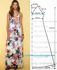 Easy sewing projects for beach cover-ups Moldes Moda por Medida by LiZzie. summer dress, summer dress pattern, how to sew a summer dress blouse sundress Simple halter maxi dress pattern- though I would modify the top and add a more modest chest plus cap s Diy Clothing, Sewing Clothes, Dress Sewing Patterns, Clothing Patterns, Pattern Sewing, Free Pattern, Simple Pattern, Skirt Patterns, Pattern Dress