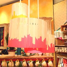 Lampshade made of paint stirrers that I spotted in the Rockefeller Center Anthropologie. Adult Crafts, Diy Crafts, Paint Stirrers, Craft Projects, Craft Ideas, Surf Shack, Rockefeller Center, Classroom Inspiration, Craft Night