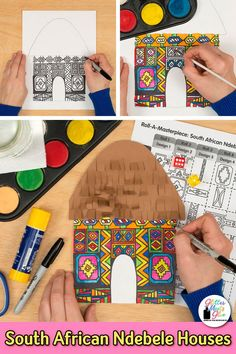 Learn art history while creating these Southern Ndebele houses. This fun painting art lesson works well for through grade students. Fill up your art sub folder with low-prep, African art for…More African Art For Kids, African Art Projects, African Crafts, Art History Projects For Kids, Art History Lessons, Art Education Projects, South African Art, Art Games For Kids, Art Lessons For Kids