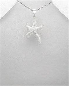 STERLING SILVER NAUTICAL ALOHA OAHU ISLAND OCEAN STARFISH PENDANT NECKLACE