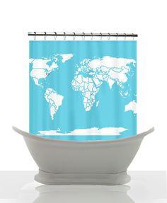 Custom Map Shower Curtain- World Map - Modern Map -Travel inspired Home Decor - Bathroom - maps - Decor