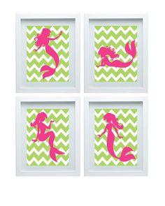 Mermaid Art Nursery Art Print Girl Room Decor Baby's Room Chevron Lime Green Pink Decoration Wall Art Print Set of 4 -8x10 Choose Your Color...
