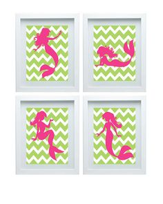 Mermaid Art Nursery Art Print Girl Room Decor Baby's Room Chevron Lime Green Pink Decoration Wall Art Print Set of 4 -8x10 Choose Your Color...