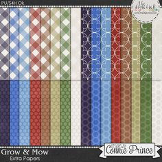 Grow & Mow - Extra Papers by Connie Prince. Includes 32 basic patterned papers in jpg format. Scrap for hire / others ok.