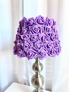 Excited to share this item from my shop: Rosette lamp shade Purple Lamp Shade, Purple Furniture, Pom Pom Flowers, Purple Rooms, Table Lamp Shades, Rosettes, Glass Shades, Lamp Light, Night Light