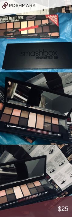 🆕 Smashbox Photo Matte #shapematters Palette Brand new in box. 100% authentic. Retails for $49  12 all-matte wet/dry shades can be used as liner, shadow or brow powder. 2 double-size base shadow shades. Double-ended liner/shadow brush. #SHAPEMATTERS look book insert with how-to for 6 eye shapes and 5 brow shapes. ~ DESSET ~ EARTHY ~ HEIRLOOM ~ SUEDE ~ DUNE ~ CANYON ~ VANILLA ~ WHEAT ~ GROUNDED ~ JOLT ~ ROSEHIP ~ DITCH ~ HAZE ~ BLACKOUT Free gift with purchase 💋 Smashbox Makeup