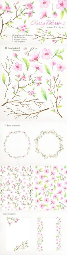 Watercolor Cherry Blossoms. Wedding Card Templates